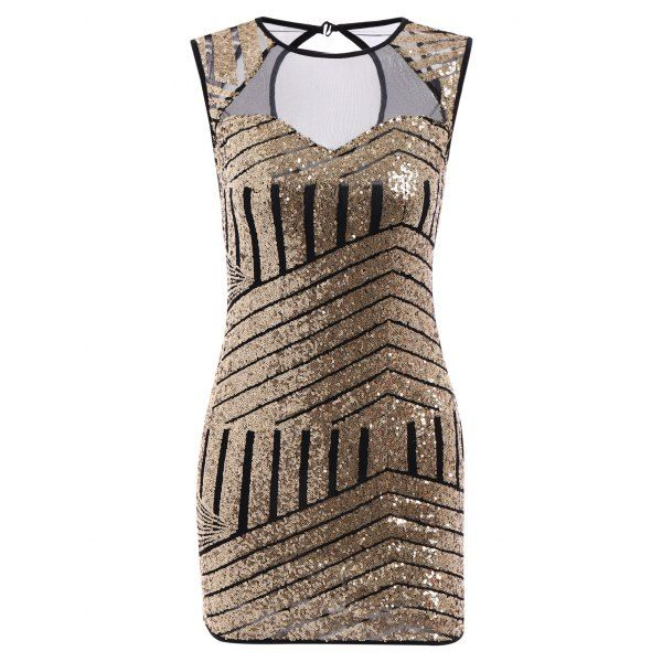 Sleeveless Jewel Neck Geometrical Sequined Bodycon Dress For Women — 14.76 € Size: S Color: GOLDEN