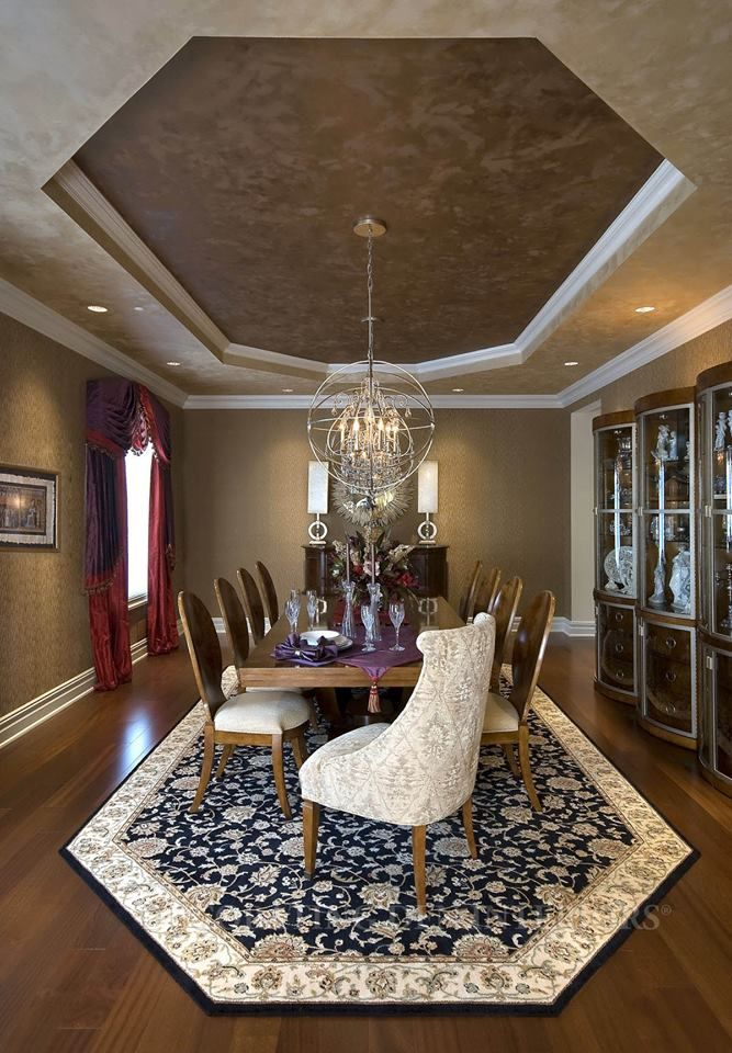 Maryann S Decorating Tip This Custom Area Rug Was Designed To Complement The Octagon Shape Of The Tray Cei Dining Room Design Ceiling Decor Professional Decor Decorate octagon shaped living room