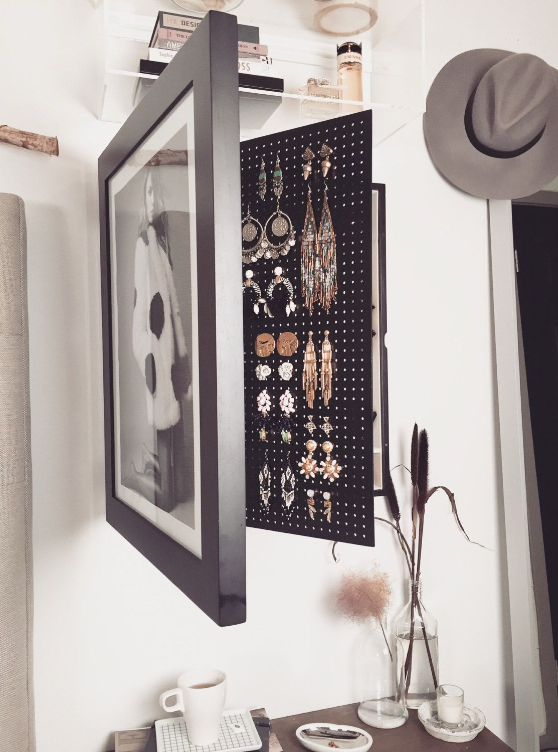 Black-Wall Mounted Jewelry Organizer Photo Frame | Pinterest ...