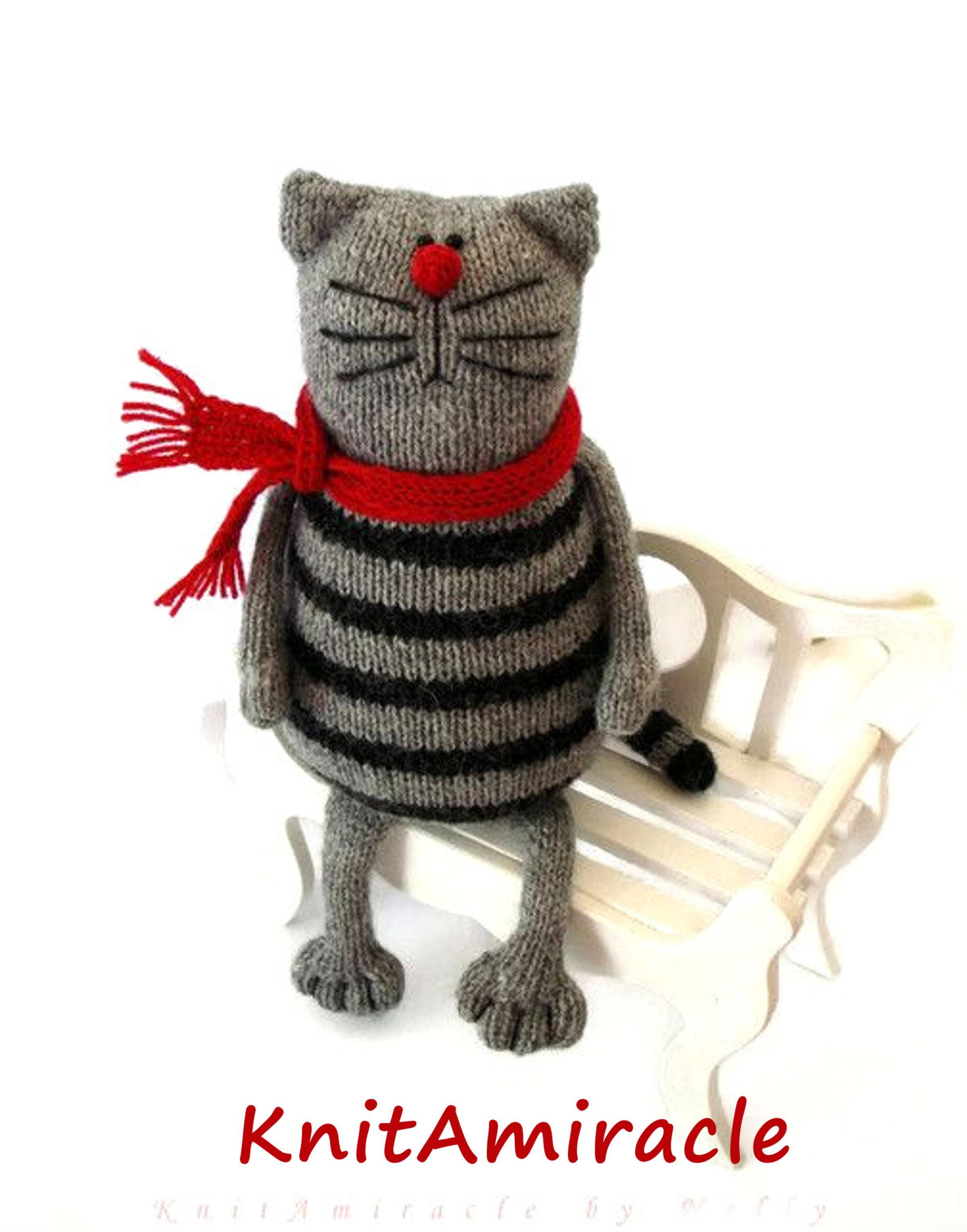 Toy cat knitting pattern PDF Knitted animal pattern Stuffed kitty ...