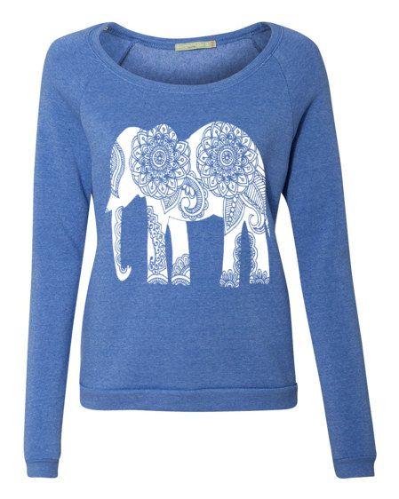 66c28fc3d XL Green Womens Paisley ELEPHANT Hoodie Tshirt Lightweight Sweatshirt  Hooded Alternative Apparel Gray