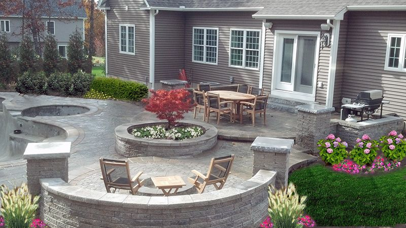 Backyard Patio Firepit Ideas With Outdoor Round Dining Table And Chair Sets