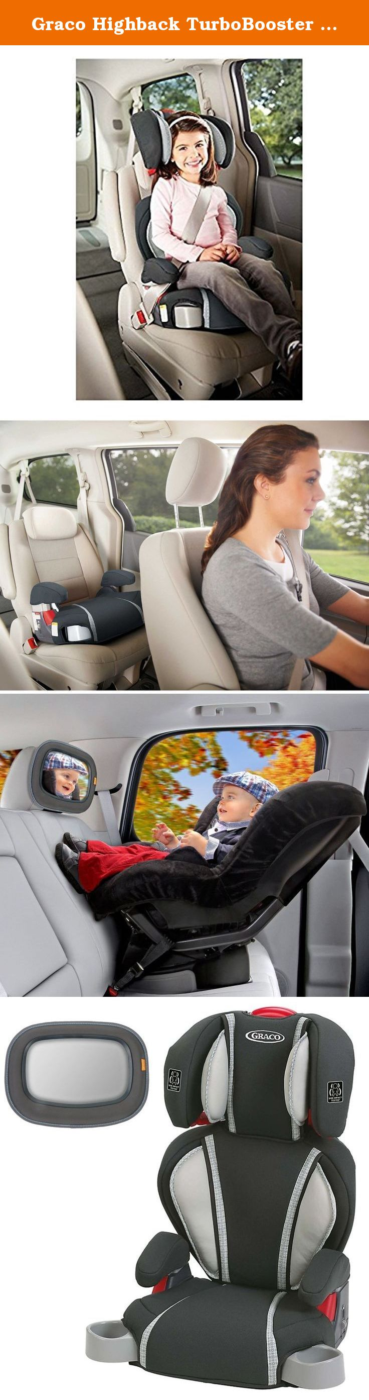 Graco Highback TurboBooster Booster Car Seat Glacier With Baby In Sight Mirror Gracos