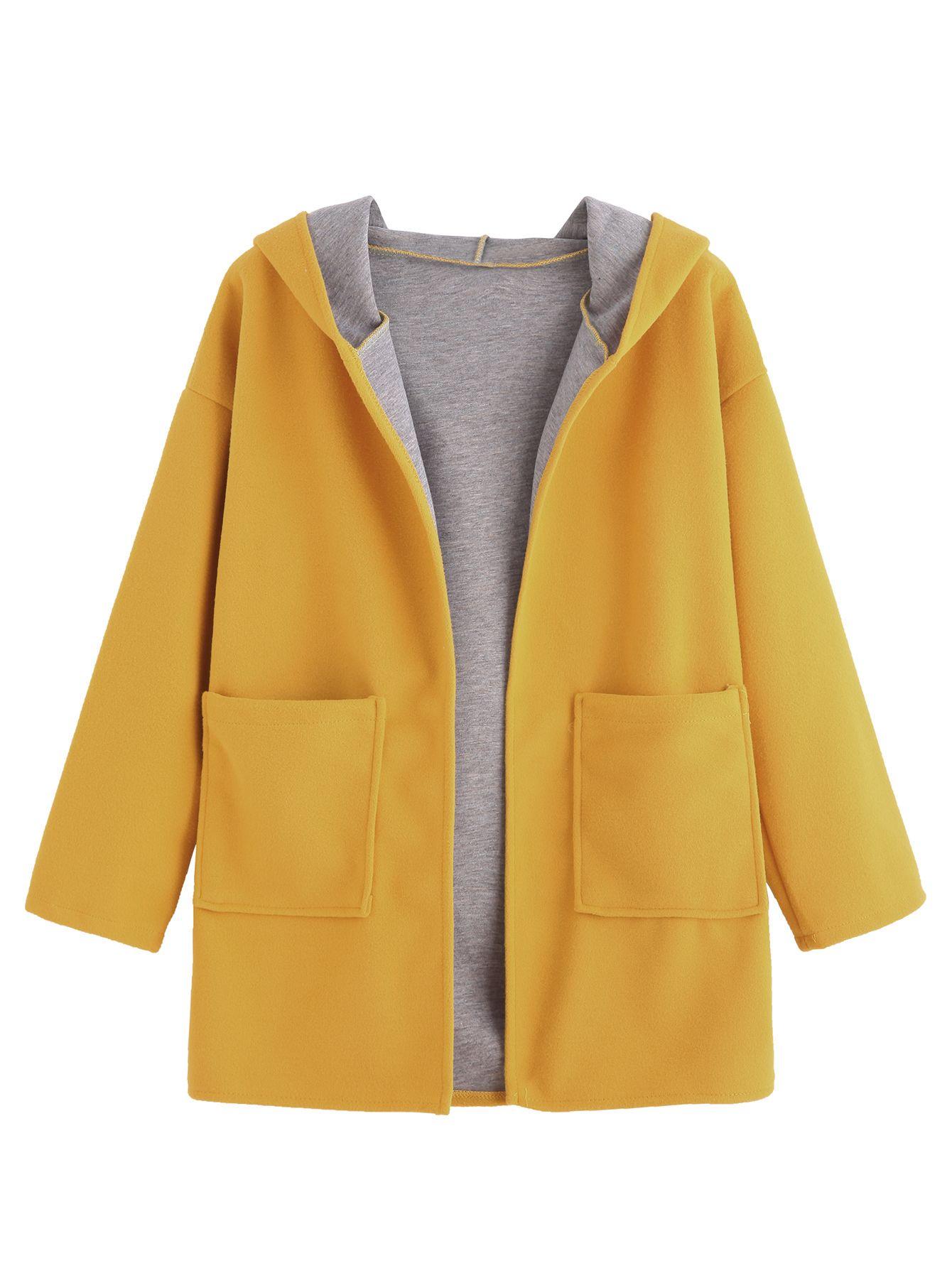 Abrigo con capucha y hombro caído - amarillo-Spanish SheIn(Sheinside) 2cae7ed79eba