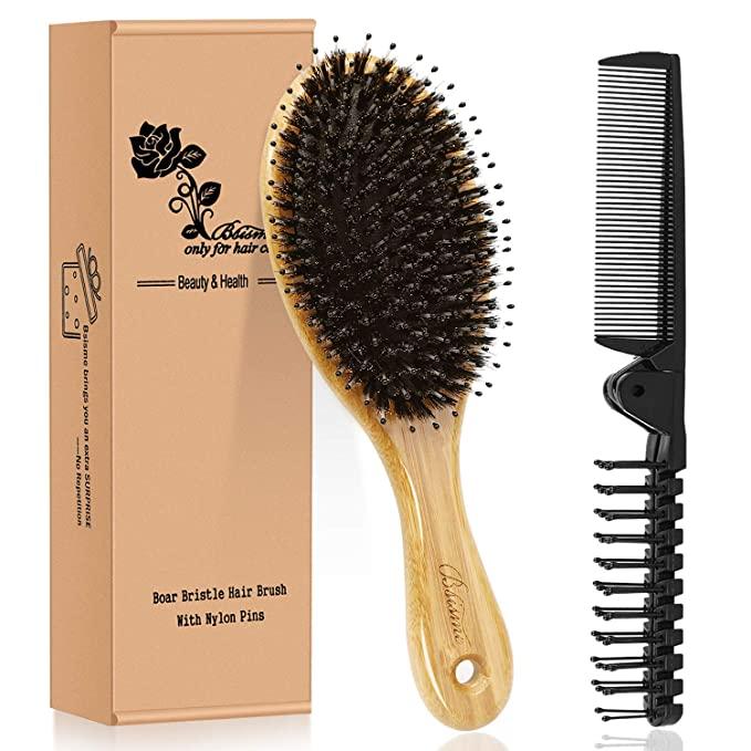 Amazon Com Hair Brush Comb Set Boar Bristle Hairbrush For Curly Thick Long Fine Dry Wet Hair Best Travel Bamboo Paddle Detangler Detangling Hair Brushes For In 2020