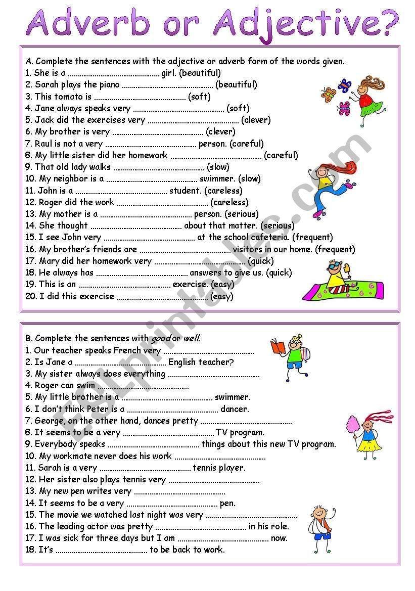 Adverb or Adjective? worksheet | Education | Worksheets, Adverbs ...