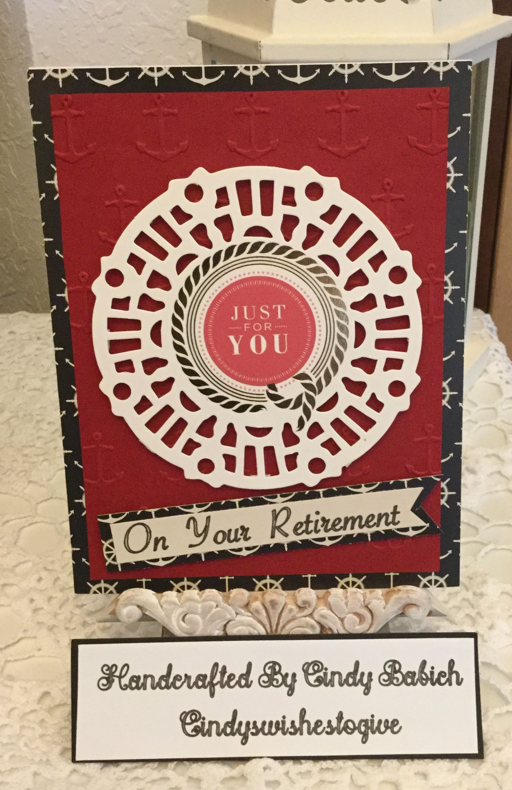 Retirement card made with anna griffin anchors ahoy embossing