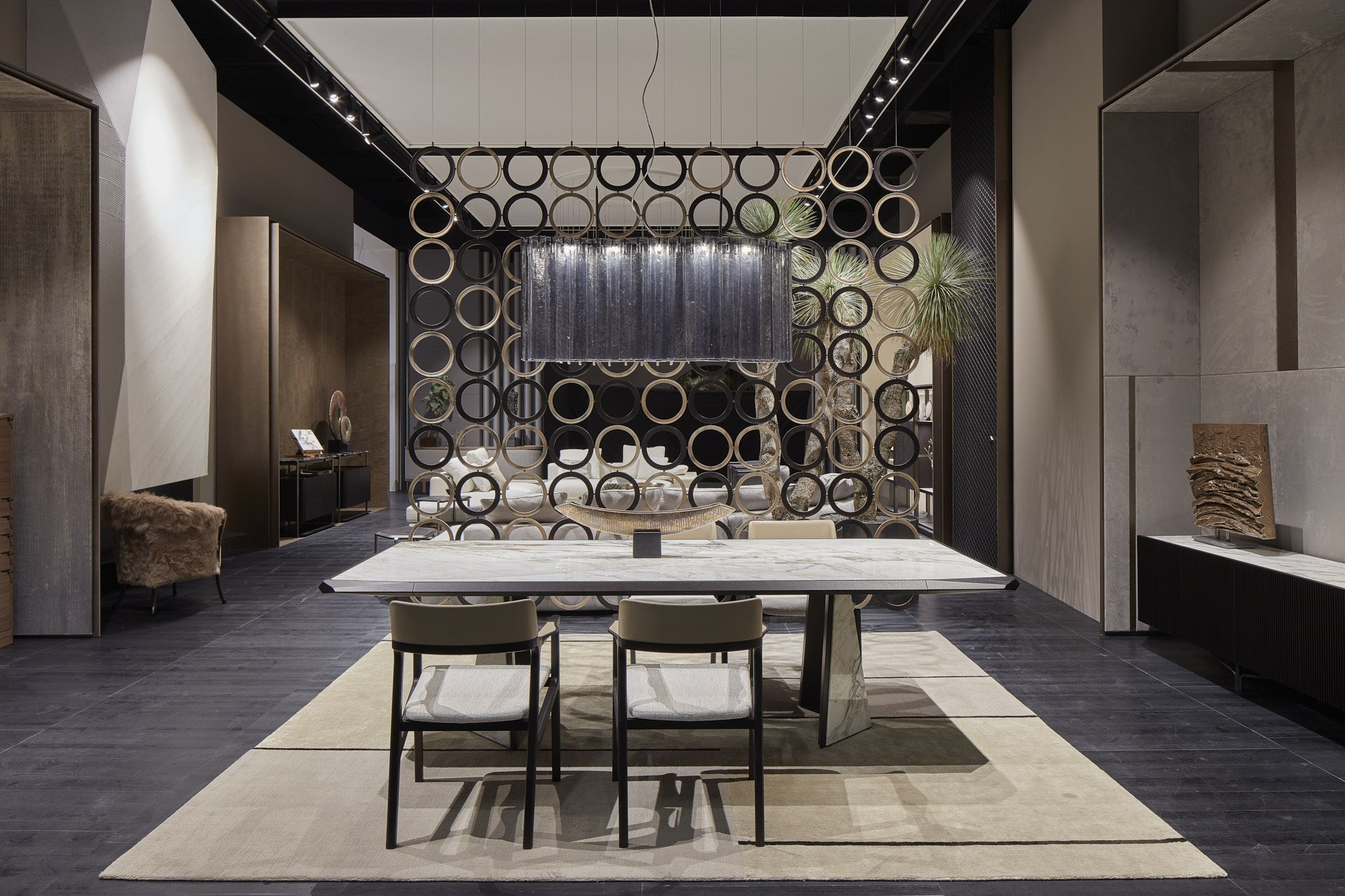 Giorgetti brings excellence in its design at imm Cologne, to unveil the latest news from 2019 Collection. In the picture: Amadeus table and Alexa Chairs #giorgetti #luxuryhome #luxuryfurniture #livingdesign #furniture #furnituredesign #luxuryfurniture