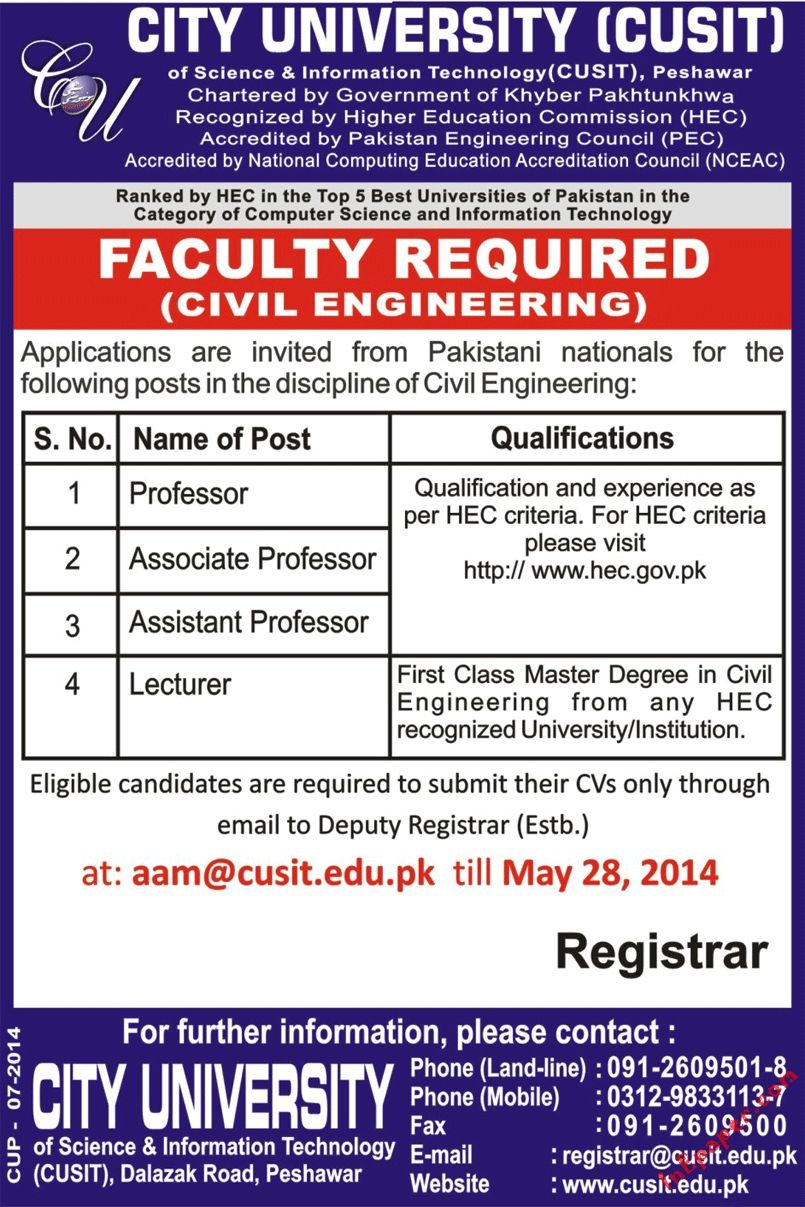Jobs City University Of Sciences Information Technology Cusit Peshawar Faculty Required Mashriq N University Of Sciences Information Technology Best University