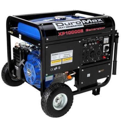 Duromax 10000 Watt 8 000 Watt Electric Start Gasoline Powered Portable Generator With Wheel Kit Xp10000e The Home Depot Best Portable Generator Gas Generator Portable Generator