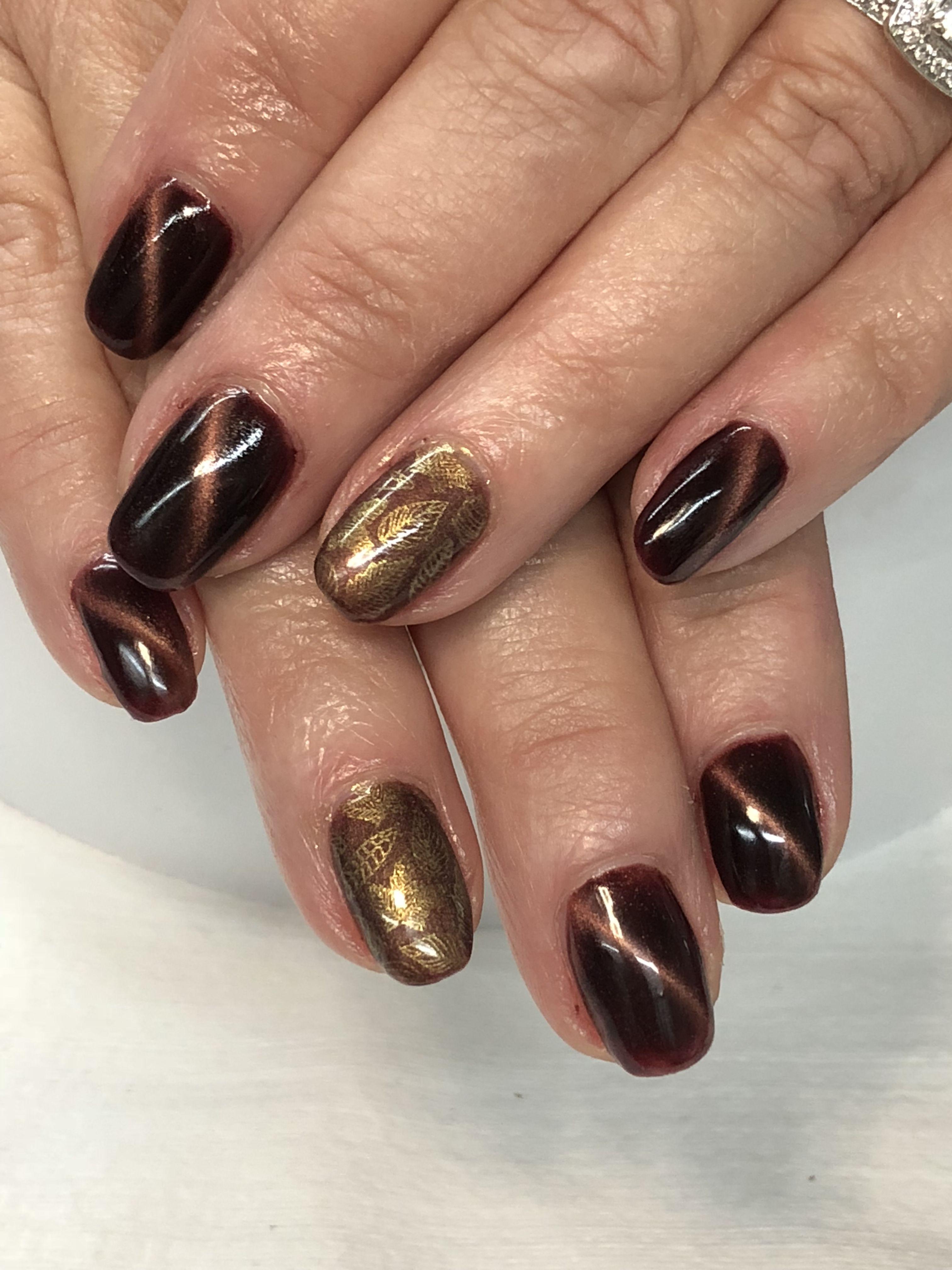 Fall Leaves Magnetic Gel Nails Hot Nails Gel Nail Designs Nails