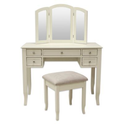 Charlotte 2 Piece Vanity Set With Power Strip And Usb In Ivory