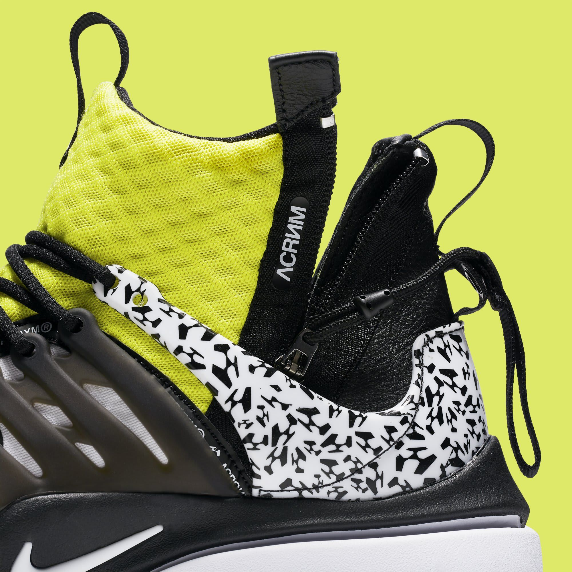 ba8d814fa23c Acronym x Nike Air Presto Mid  White Dynamic Yellow Black  AH7832-100  (Detail)