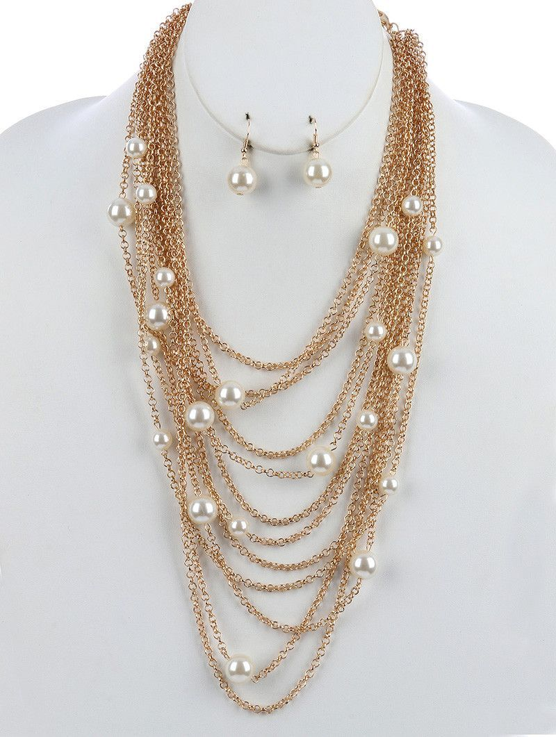 MULTI LAYER PEARL BIB NECKLACE AND EARRING SET
