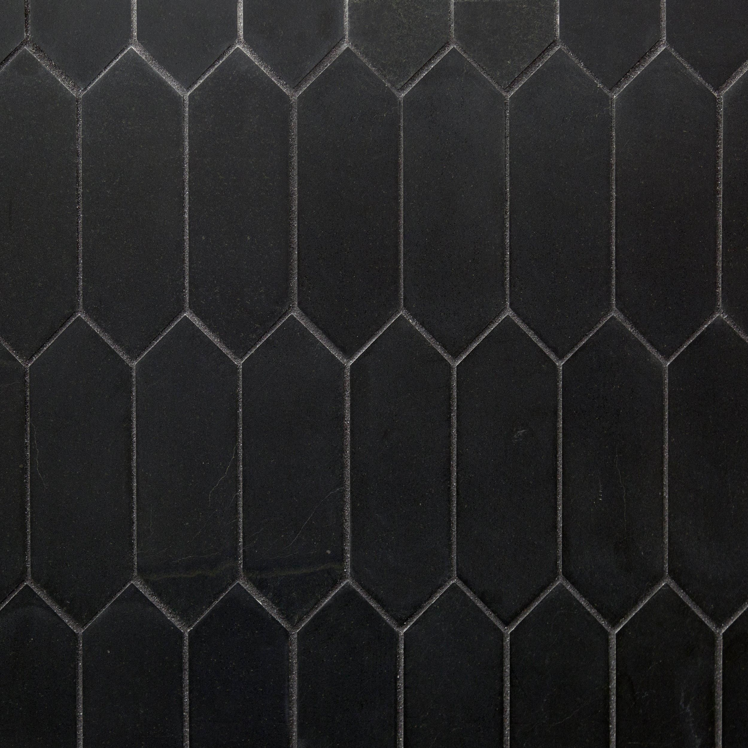Jet Black Basalt Picket Limestone Mosaic In 2020 Black Basalt Black Mosaic Bathroom Black Wall Tiles