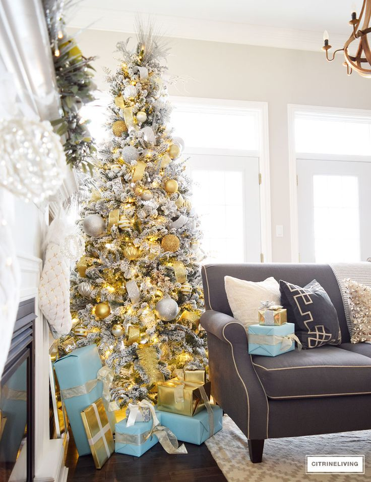 holiday home showcase 2016 silver and gold elegant christmas tree accented with tiffany blue and