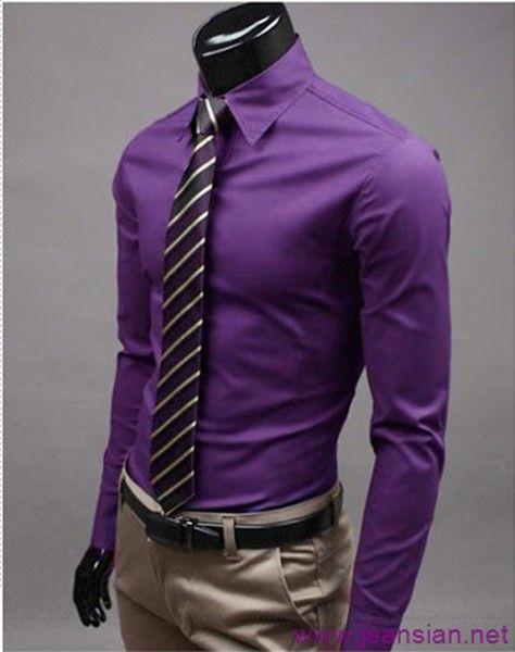 Purple Dress Shirt Dark Tie Khaki Pant Black Belt I