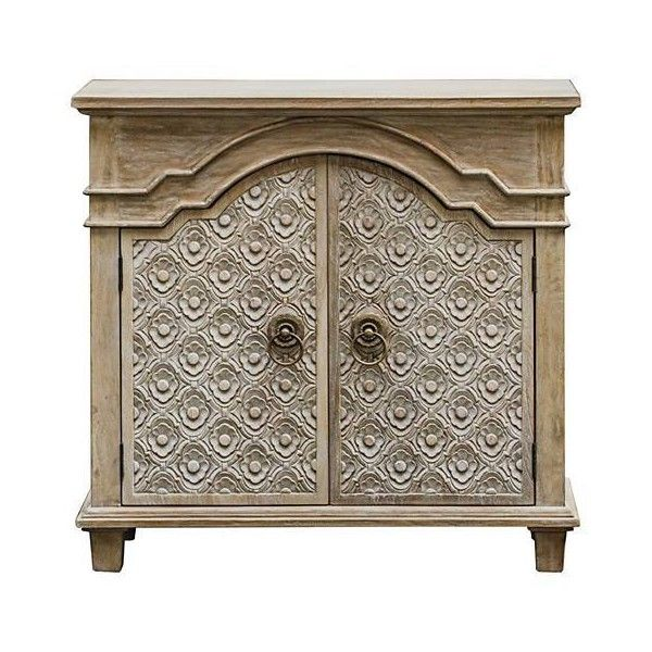 Uttermost Allaire Aged Ivory 2-Door Wood Accent Cabinet ($746) ❤ liked on Polyvore featuring home, furniture, storage & shelves, cabinets, double door cabinet, 2 door cabinet, antique white storage cabinet, off white cabinets and white dove cabinets