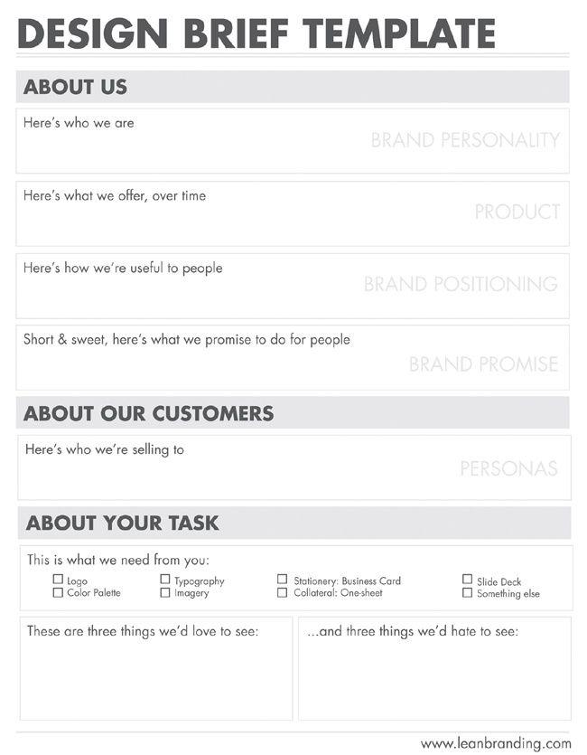 4 Brand Symbols Design Brief Template Creative Brief Template Graphic Design Business