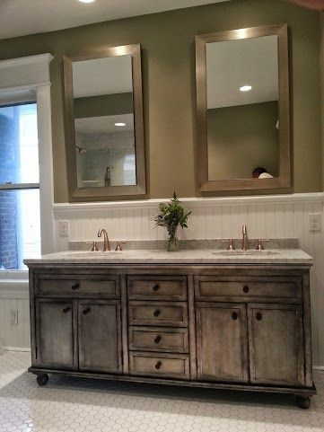 bathroom remodel dual framed standalone mirrors jack and jill sinks distressed grey cabinets