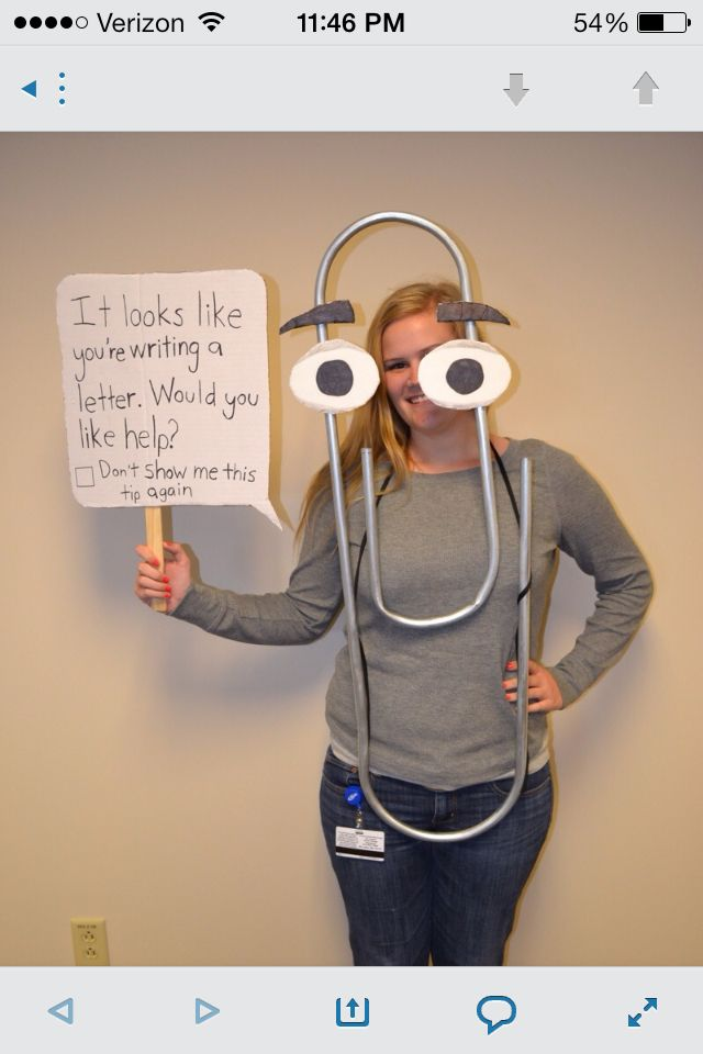 Word paper clip costume