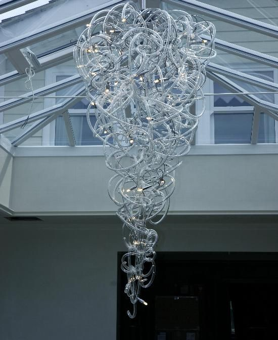 Clear Hand Sculpted Murano Glass Blown Glass Chandelier Hand Blown Glass Lighting Glass Blowing