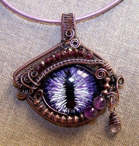 Artansoul Purple Dragon Evil Eye Wire Wrapped Pendant Copper