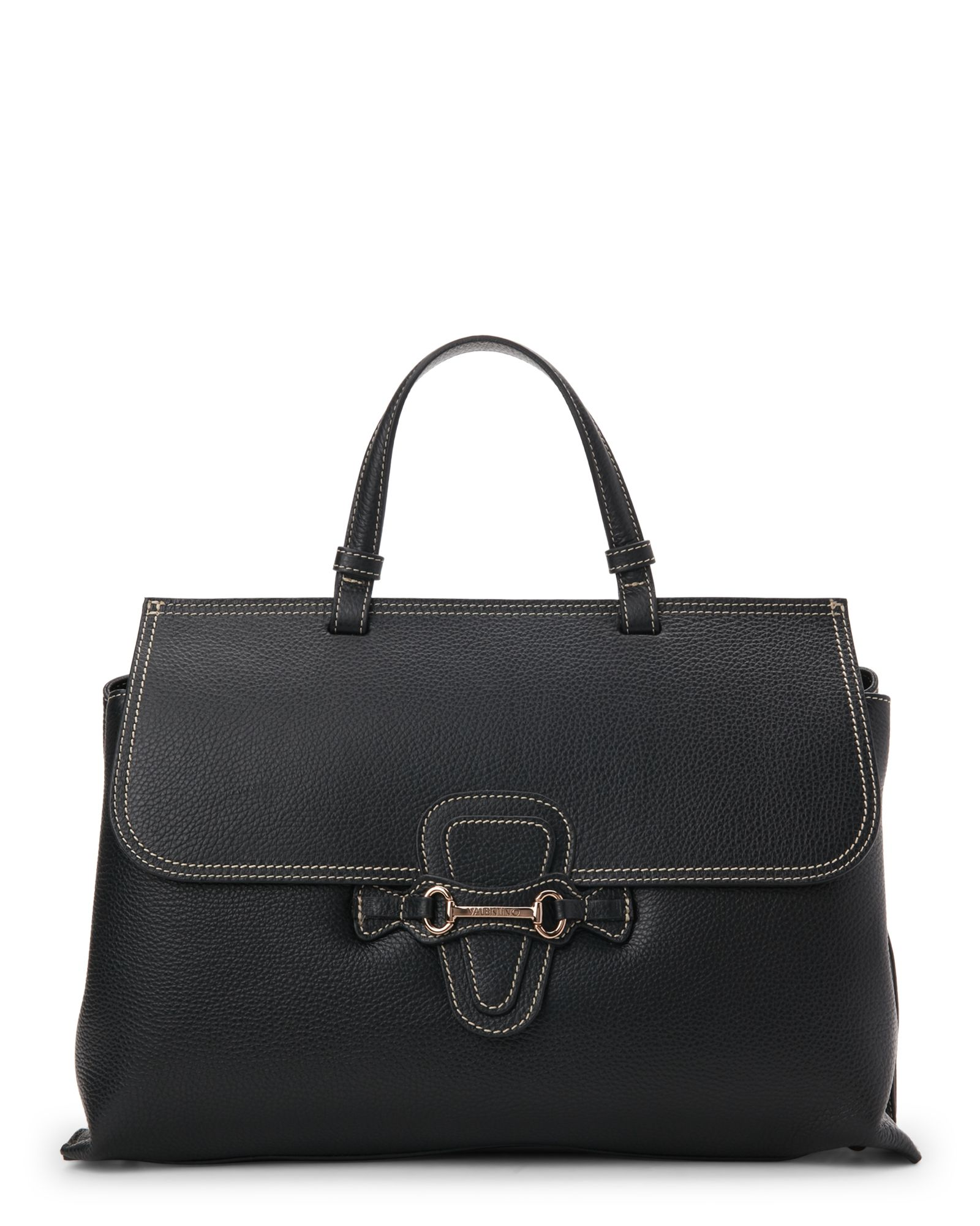Valentino By Mario Valentino Black Olympia Dollaro Pebbled Top Handle Satchel