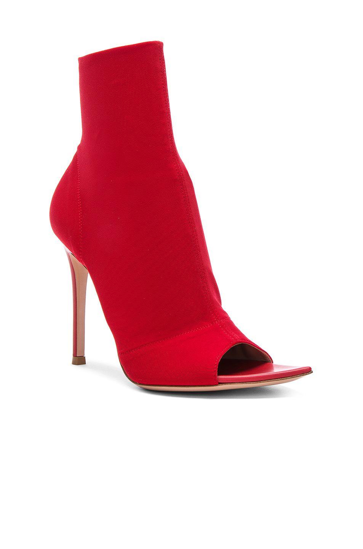 Gianvito Rossi Osaka & Leather Gotham Peep Toe Ankle Boots in . N6HYE