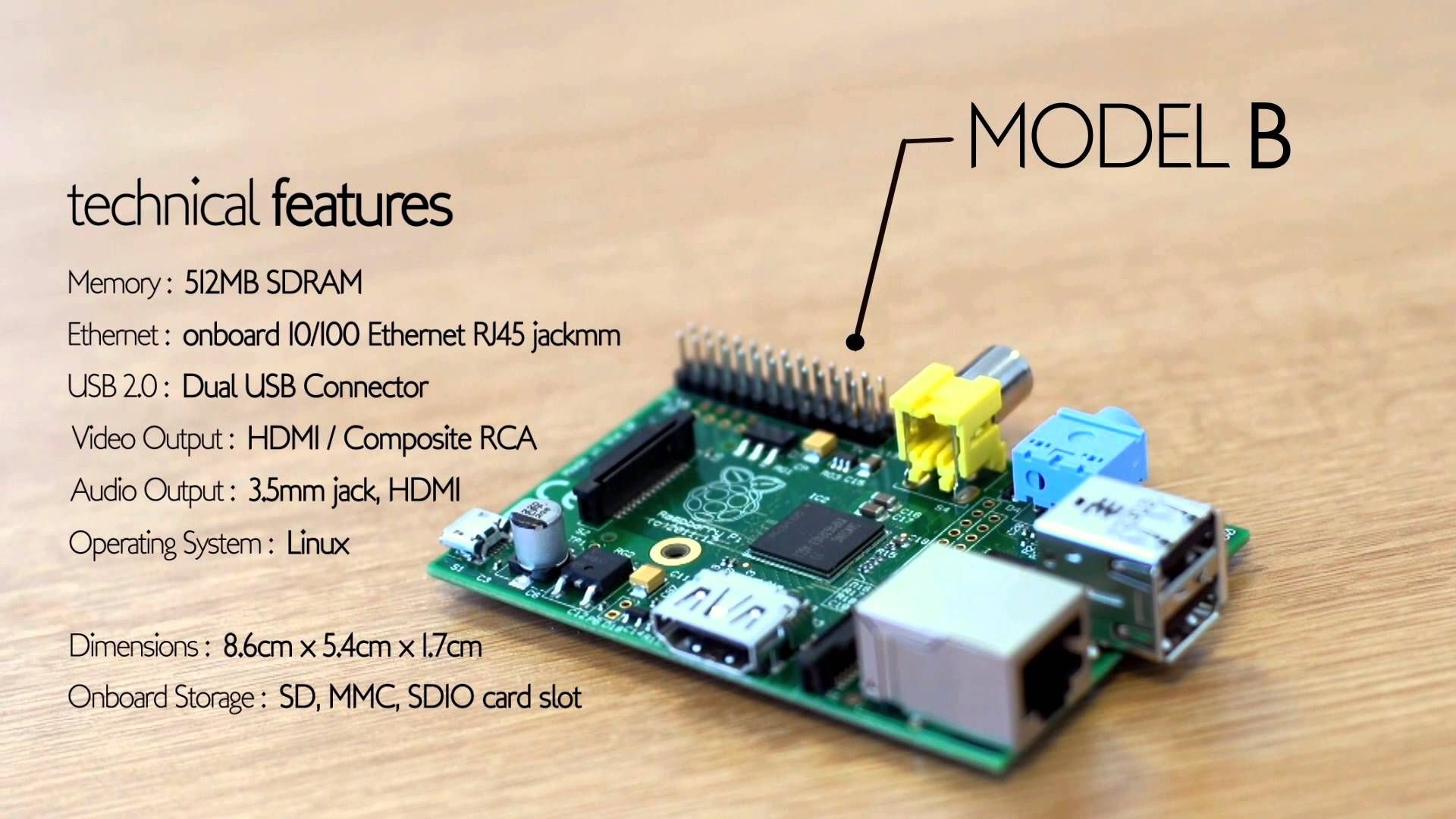 Spesifikasi Raspberry Pi Model B