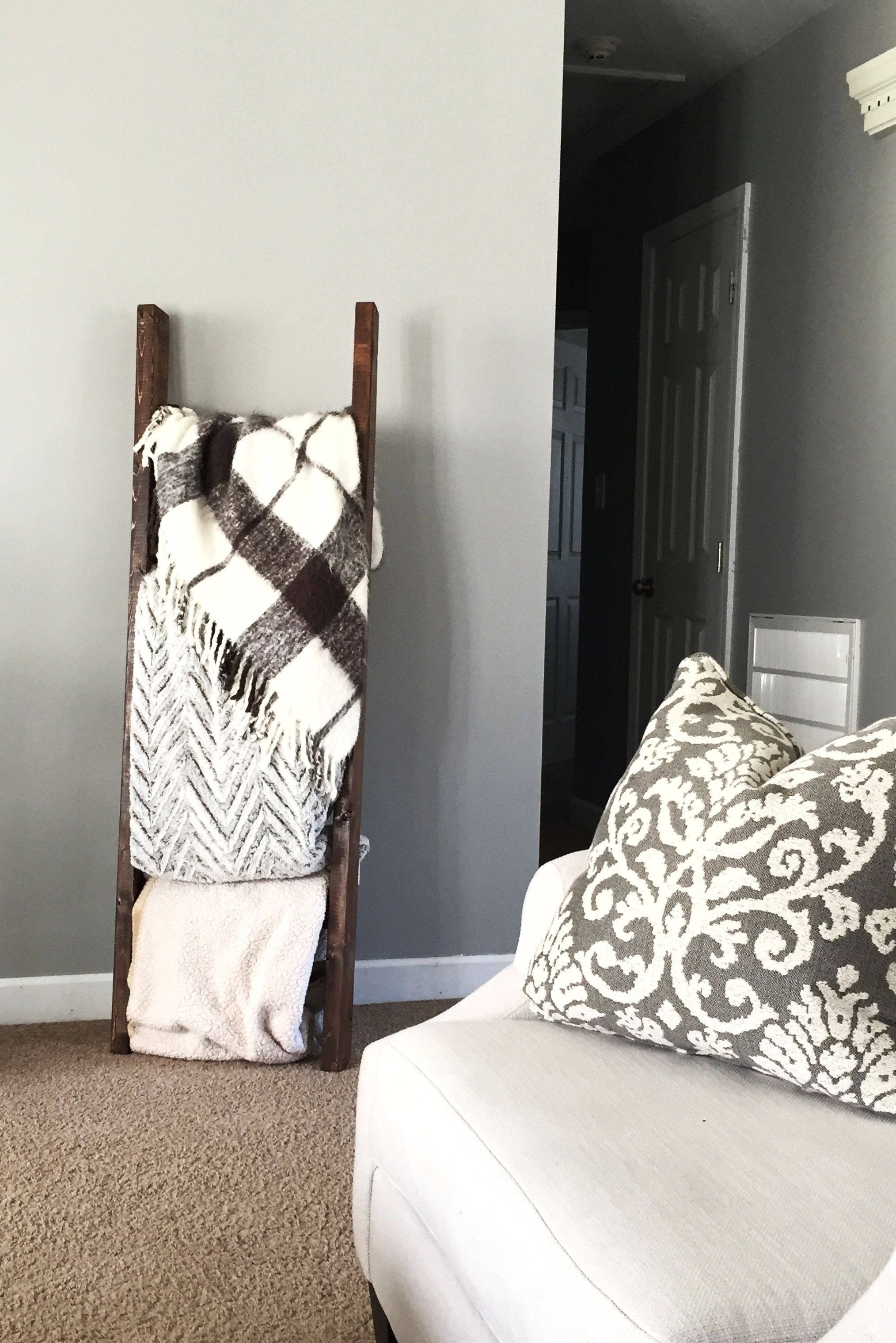 A Blanket Ladder Was The Perfect Way To Fill In Some Empty Wall Space In The Living Room Blanke Living Room Space Filler Living Room Empty Living Room Spaces