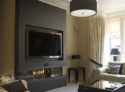 feature wall fireplace google search fireplace pinterest tv sets dark walls and alcove. Black Bedroom Furniture Sets. Home Design Ideas