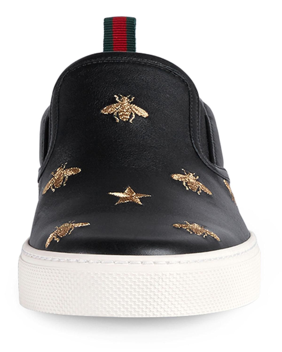 63fd62652 Men's Dublin Bee & Star Embroidered Leather Slip-On Sneakers | JUST ...