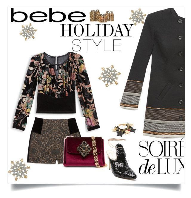 """Bebe Holiday style"" by juliehooper ❤ liked on Polyvore featuring Bebe, Shea's Wildflower, Kim Rogers, chicnight and Bebeholidaystyle"