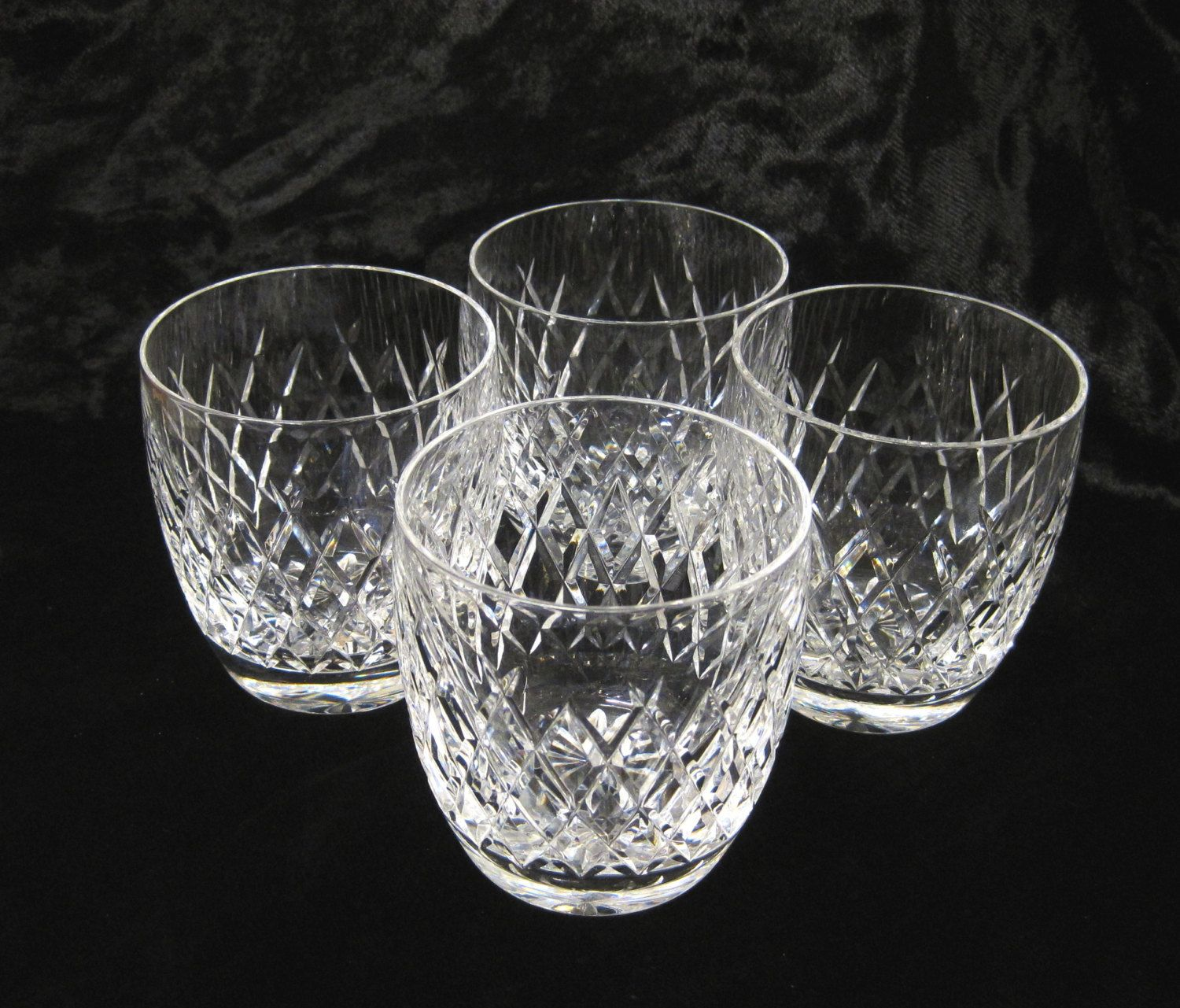 4 Chunky Cut Lead Crystal Whisky Tumblers, 8 oz Scotch Glasses by ...