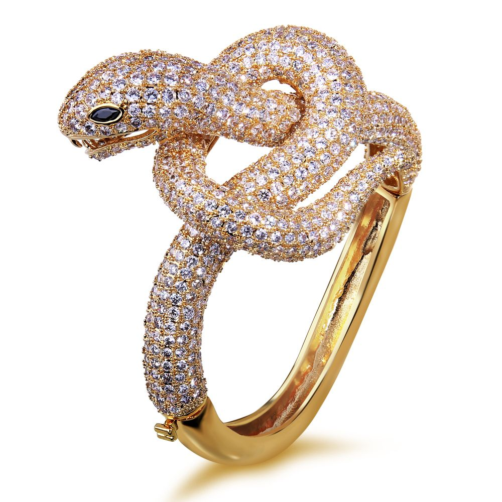 Excellent quality snake bangles gold plated with white cz luxury