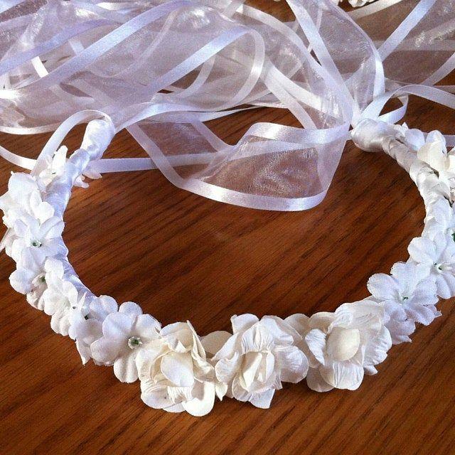 Photo of Communion crown flower girl crown – head wreath headpiece bridal flower ribbon …