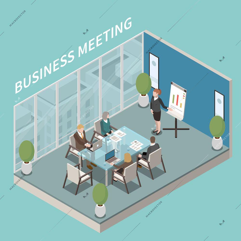 Small meeting room business presentation isometric