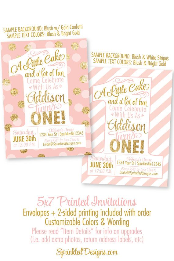 Pink and gold girl 1st birthday invitations blush pink gold pink and gold girl 1st birthday invitations blush pink gold glitter peach mint aqua blue stopboris Gallery