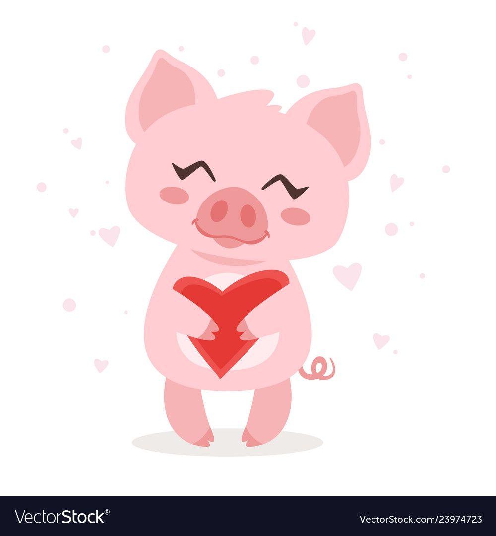 Cute Pink Pig Vector Image On Vectorstock Pig Vector Cartoon Cat Drawing Cute Pink