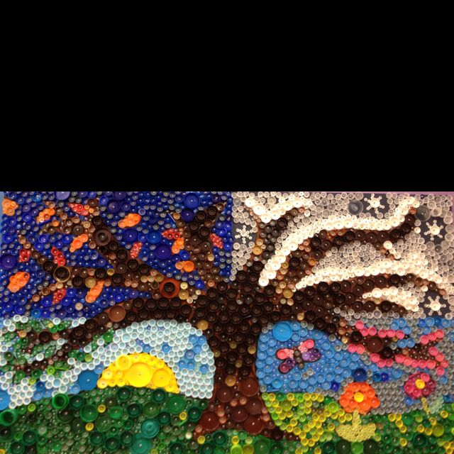 Finished bottle cap mural at big bend elementary www for 4 seasons mural