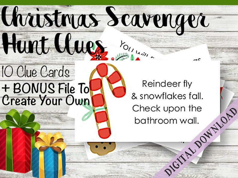 Christmas Scavenger Hunt Clue Cards Fun Activity Game