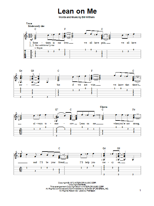 Assez Bill Withers: Lean On Me - Partition Tablature guitare facile  WG39