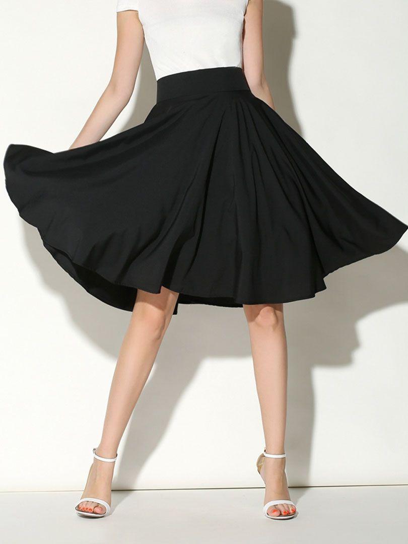 afcbac05fe Black High Waist Midi Skater Skirt | art and cloths | Midi skater ...