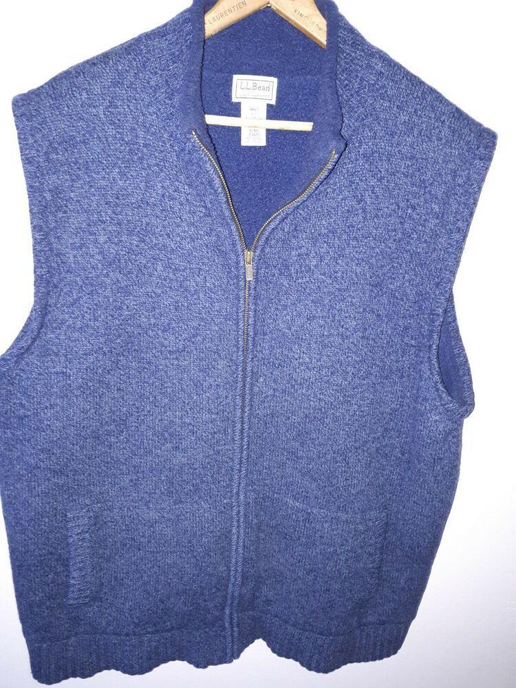 7feb906dc8879 LL Bean Lambs Wool Lined Full-Zip Sweater Vest Blue Size XL-Reg ...