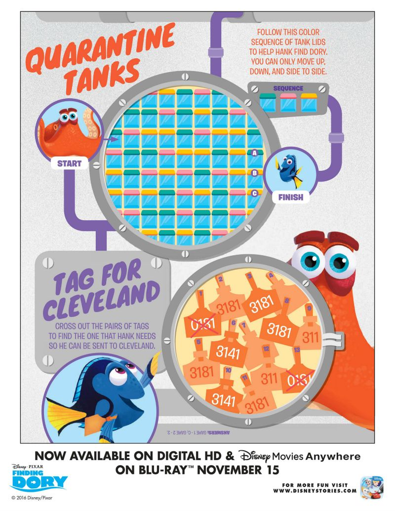 Finding Dory Puzzle Activity Page   Printable Coloring Pages, Crafts ...