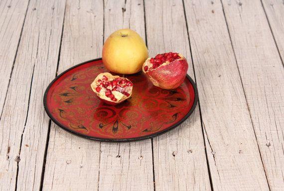 Plastic tray - Vintage tray - Russian khokhloma tray - Soviet floral plate - Picnic tray - Plastic khokhloma tray - Old tray - Kitchen decor