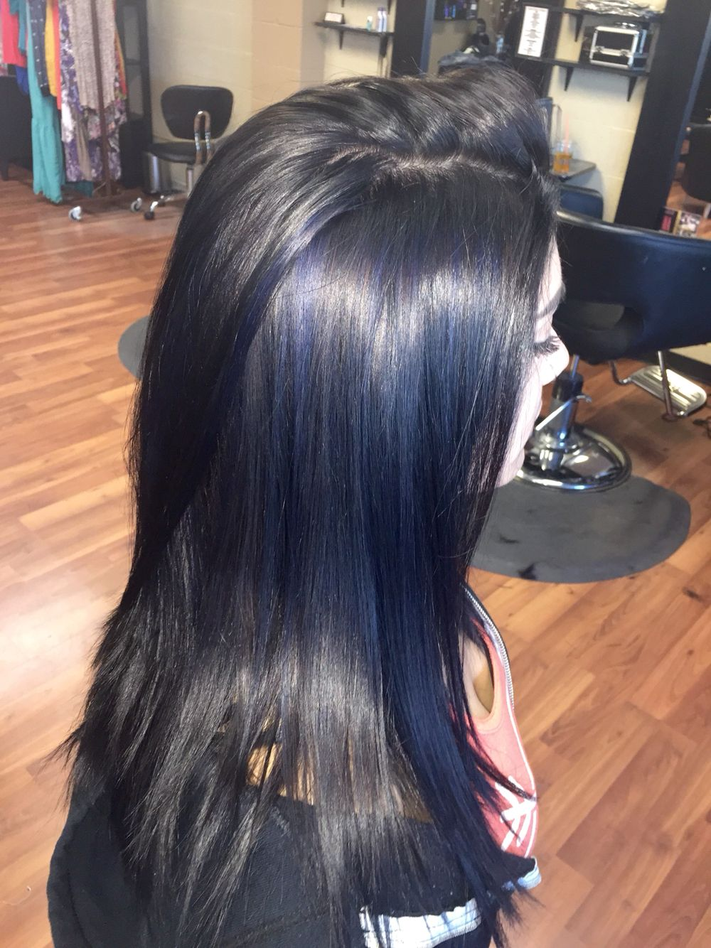 All Over Black With Navy Blue Highlights Black Hair Dye