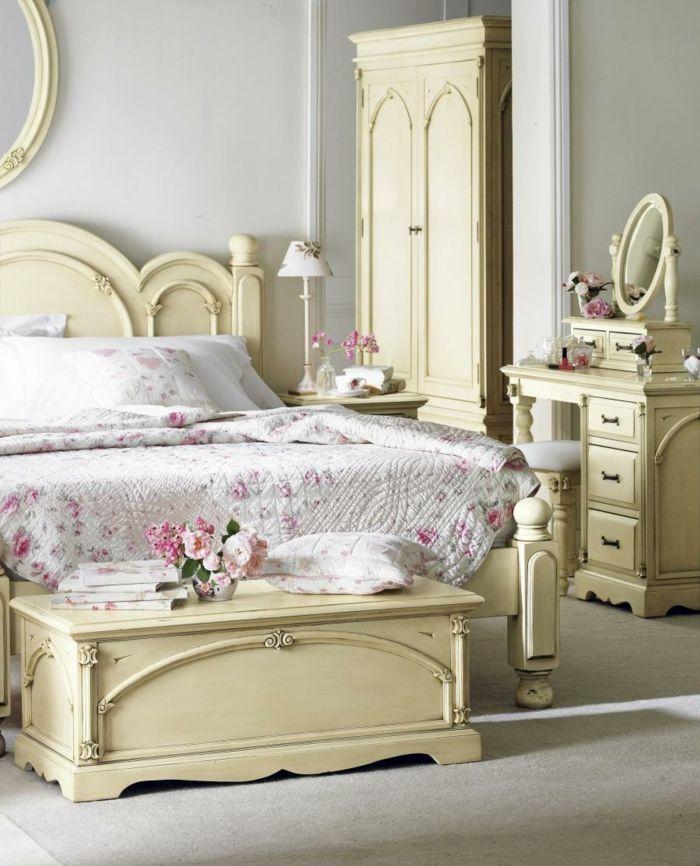 shabby chic kommode anrichte schlafzimmer romantisch pastellgelb - schlafzimmer romantisch dekorieren