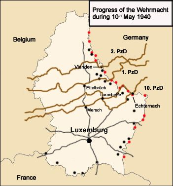 The German invasion of Luxembourg was part of Case Yellow (German: Fall Gelb), the German invasion of the Low Countries (Belgium, Luxembourg and the Netherlands) and France during World War II. The battle began on 10 May 1940 and lasted just one day. Facing only light resistance, Luxembourg was quickly occupied. The Luxembourgish government, and Grand Duchess Charlotte, managed to escape the country and a government-in-exile was created in London.